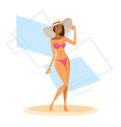 tanned woman in bikini long leg sexy girl wear vector image