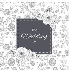The wedding black frame retro flowers background v vector