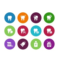 Tooth teeth circle icons on white background vector image