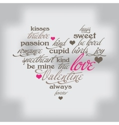 Valentine day typography design words in heart vector image vector image