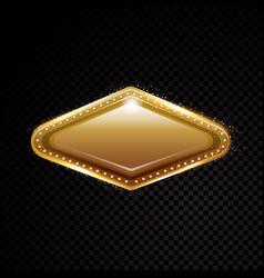 vegas golden frame shining banner vector image vector image