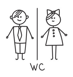 Wc door plate symbols wc icon gents and ladies vector