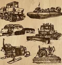 Winter vehicles - an hand drawn vector