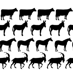 Domestic animals silhouettes seamless pattern vector