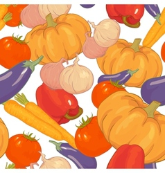 Seamless background with autumn vegetables vector