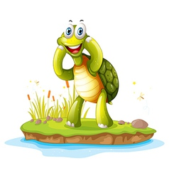 A smiling turtle in an island vector image