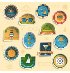 Summer vacation emblems stickers set vector