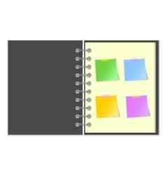 Open grey cover notebook with stickers vector