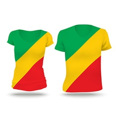 Flag shirt design of republic of congo vector