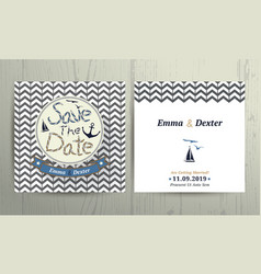 Nautical wedding save the date card on chevron vector