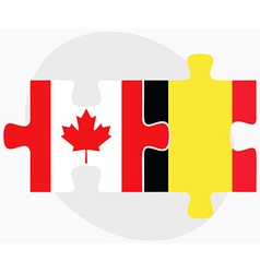 Canada and belgium flags vector