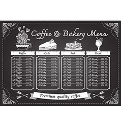 Hand drawn coffee and bakery on chalkboard vector