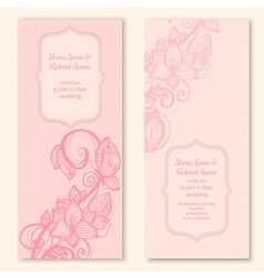 Wedding cards template with butterfly and flower vector
