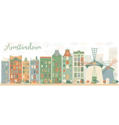 Abstract amsterdam city skyline vector