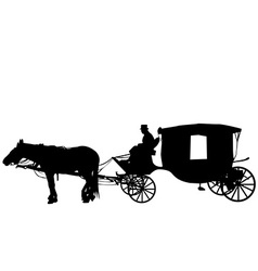 Vintage carriage with coachman vector