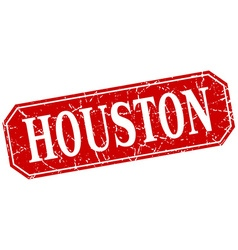 Houston red square grunge retro style sign vector
