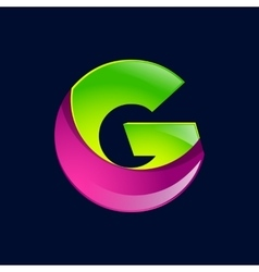 G letter green and pink logo design template vector