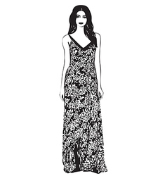 Beautiful young women in a fashion long dress vector