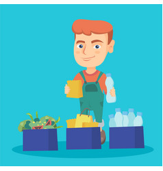 Boy separating plastic paper and food waste vector
