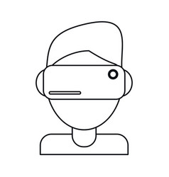 Boy wearing vr goggles thin line vector