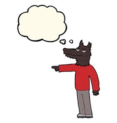 Cartoon wolf man pointing with thought bubble vector