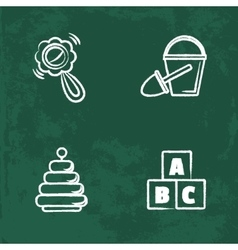 chalk icons set Isolated chalkboard vector image
