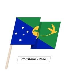 Christmas island ribbon waving flag isolated on vector