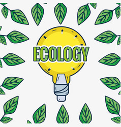 Cute bulb with leaves around to ecology care vector