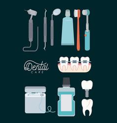 Dental care set on color background vector