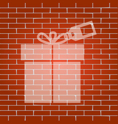 Gift sign with tag whitish icon on brick vector