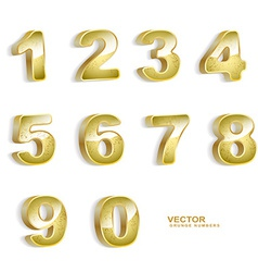 Gold grunge 3d numbers set vector