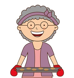 Grandmother cooking vector