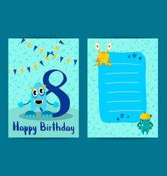 happy birthday card with cute cartoon vector image vector image