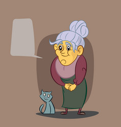 Happy grandmother and her cat vector