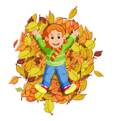 happy little girl playing with autumn leaves vector image vector image