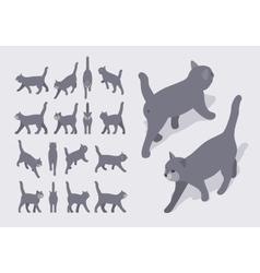 Isometric gray walking cat vector image vector image