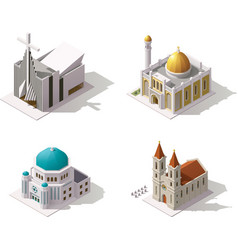isometric places of worship vector image vector image