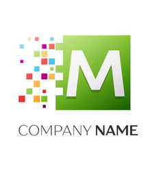 letter m logo symbol in the colorful square vector image vector image