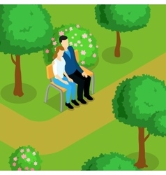 Love Couple Isometric Composition vector image