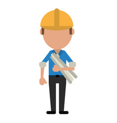 Man building construction plans helmet vector