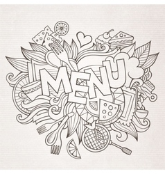 Menu cartoon hand lettering and doodles elements vector image