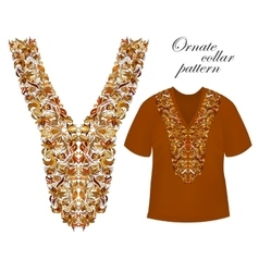 Neckline embroidery beautiful fashionable collar vector
