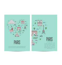 Paris travel tour booklet set in linear style vector