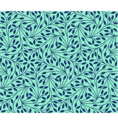 Seamless leaves pattern on teal background vector