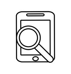 Smartphone search screen technology gadget line vector
