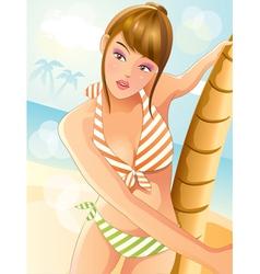 summer sexy bikini girl vector image vector image