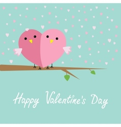 Two birds in shape of half heart sitting on the vector image vector image