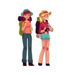 Two pretty girls travelling hitchhiking with vector