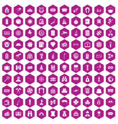 100 adult games icons hexagon violet vector