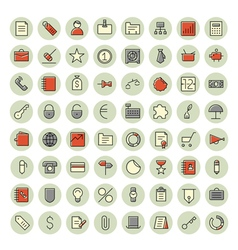Icons thin red all business vector